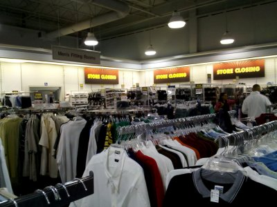 """Store Closing"" signs at the JCPenney Outlet store at Potomac Mills"