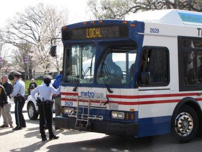 Metrobus being used to transport arrestees