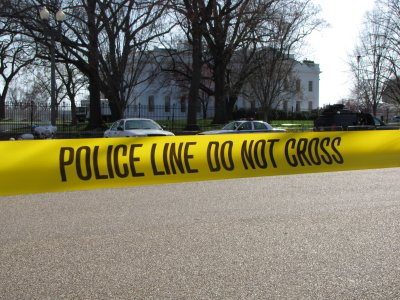 """That is the White House in the background, and then police tape in the foreground. I like it because it conjures up the idea of """"Show me what a police state looks like! This is what a police state looks like!"""" without saying it explicitly."""