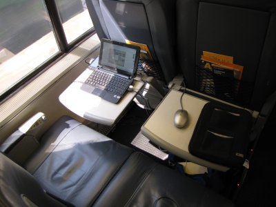 Yes, I had the whole row to myself on the northbound trip. I sat in the window seat, and then I moused on the other seat's tray. This is also why I'm so glad I bought my netbook. Look how well it fits on that little tray!
