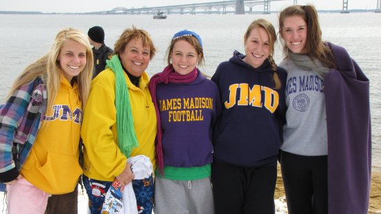 "Then we had a little bit of ""Madison pride"" going on here, as I saw a group of people wearing JMU shirts. As it turns out, the three women to the right all currently attend JMU, the blond woman to the left is a community college student who wants to transfer to JMU, and then the woman second from left is a JMU mom, who is bankrolling her daughter's education in Harrisonburg."