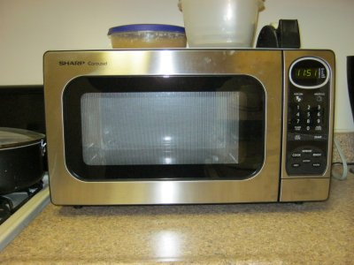 My Sharp Carousel microwave, which replaced a malfunctioning Emerson microwave a few weeks ago.