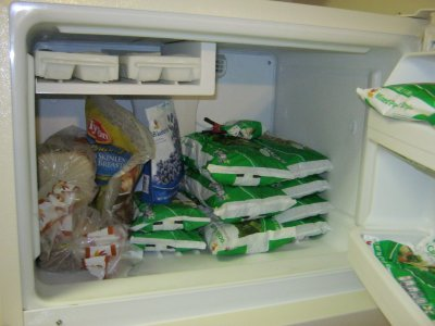 My freezer. Notice the large stash of vegetables. Compare to this photo from Duckie's acceptance testing, and this photo from the Kodak's acceptance testing. I am taking my doctor's advice seriously! No more bagged chicken, and no more frozen pizzas! I don't eat that junk anymore.