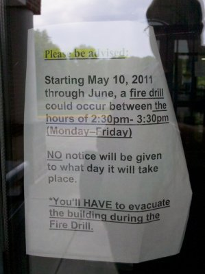 Notice about an upcoming fire drill at the pool