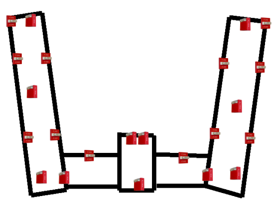 The locations of all the fire alarm notification appliances in Potomac Hall