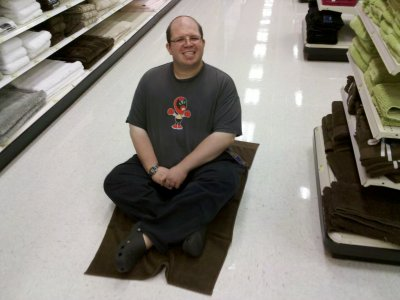 Testing out the towel on the floor at Target in Niles, Illinois