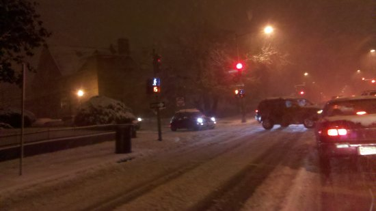 16th and Monroe Streets NW. The roads were still a mess, and traffic was crawling.