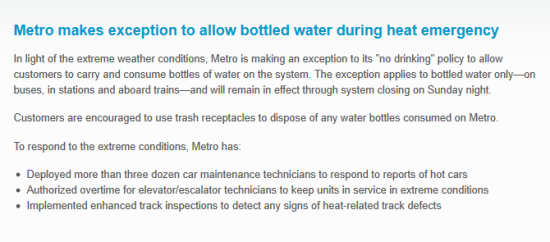 Metro's press release allowing water on trains