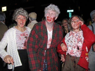 "This group (plus one more) went as a group of undead senior citizens. They not only behaved like a zombie would be expected to, but also played the stereotypical ""old person"" bit."
