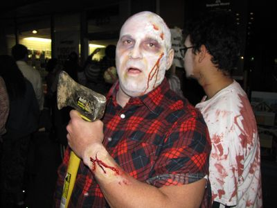 Zombie with an axe - and yes, that was a real axe!