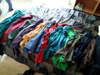 A whole bunch of shirts that I can't wear anymore