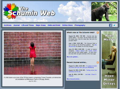 Main Page with horizontal photo feature