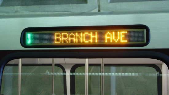 Branch Avenue destination sign on an Alstom 6000-Series car