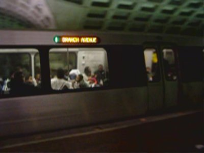 Branch Avenue destination sign on a CAF 5000-Series car
