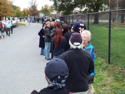 The line for early voting was way past the back side of the building, and almost to the back of the property.