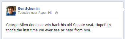 George Allen does not win back his old Senate seat. Hopefully that's the last time we ever see or hear from him.
