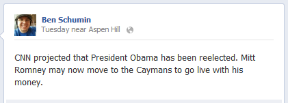 CNN projected that President Obama has been reelected. Mitt Romney may now move to the Caymans to go live with his money.