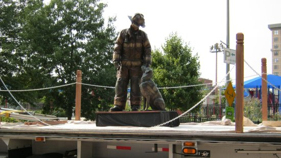 The statue, on the truck.