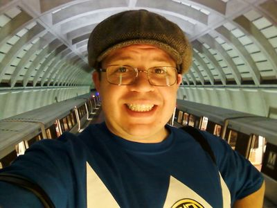 This photo is probably my favorite out of the bunch. I'm riding up the escalator at Glenmont, with two Red Line trains behind me. The lighting that's on me is actually coming from the escalator! I liked this photo so much, in fact, that I made it my Twitter pic.