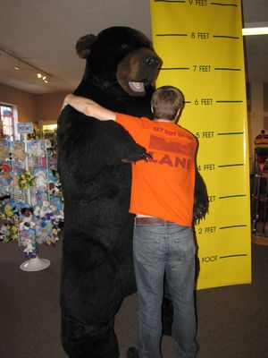 Chris was supposed to look like he was fighting this giant bear, but unfortunately, it didn't turn out the way that he had expected.  Instead, it looks like Chris is giving the bear a big hug.  Not a bad thing, but not what we were going for.