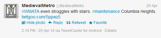 #WMATA even struggles with stairs. #maintenance Columbia Heights. http://twitgoo.com/5ppwz5