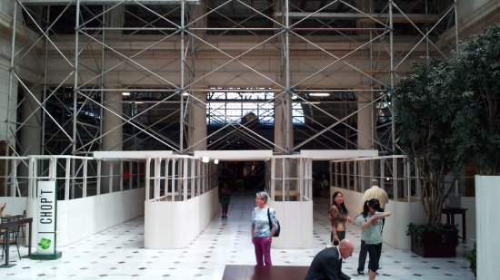 Between the west end of the Main Hall and the main part of the Main Hall.