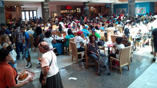 Food court at Wheaton Plaza, jammed with people