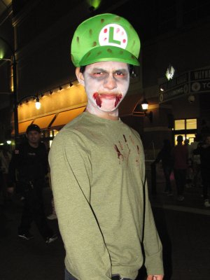Zombie Luigi.  And yes, zombie Luigi kicks his legs when he jumps, too.  Yes, I asked.
