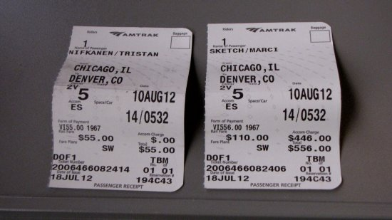Ticket stubs for Tristan Nifkanen and Marci Sketch, in our roomette for the California Zephyr in August 2012