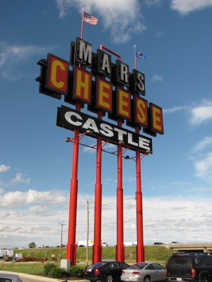 Roadside sign for Mars Cheese Castle
