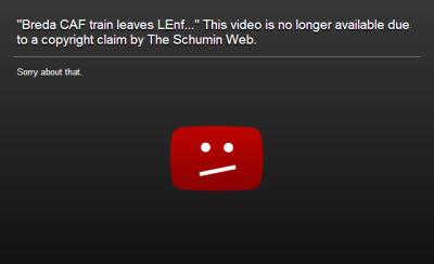 YouTube DMCA screen