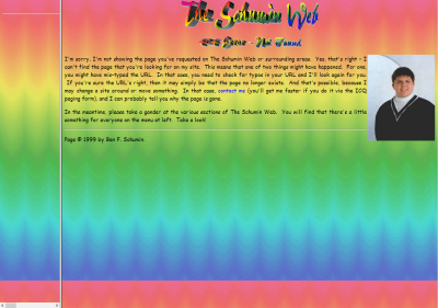 Schumin Web 404 error from December 1, 1999, viewed at modern resolution