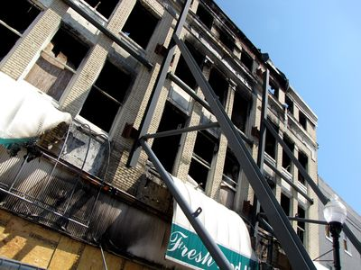 Burned-out Hecht's building
