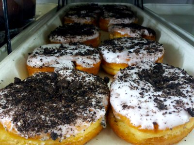 """Cookies and cream"" donuts at Wawa.  This may sound unappetizing, but the presentation of the cookie part reminded me more of cigarette ash than crumbled up cookies.  My guess, however, is that these are crumbled up Oreo cookies."