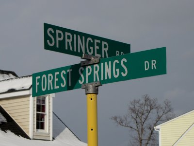 The other side of the Forest Springs sign