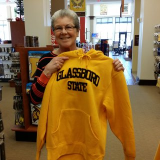 Mom poses with a Glassboro State hoodie