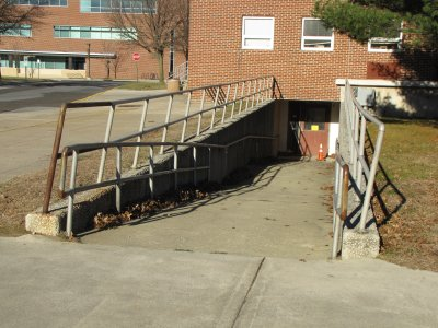 Ramp to the basement of Esbjornsen Hall