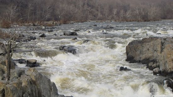 Great Falls in winter, from the Virginia side