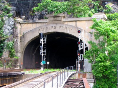 Harpers Ferry tunnel portal.  The Capitol Limited and MARC trains go on the tracks to the left.  The track closest to the camera is not used for passenger service.