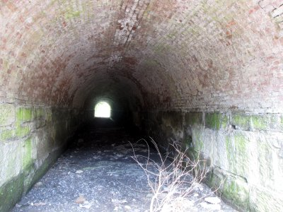 A small tunnel beneath the railroad tracks.  Anyone know what this was used for?
