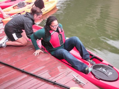 Doreen gets into her kayak