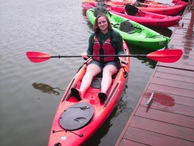 Melissa in her kayak