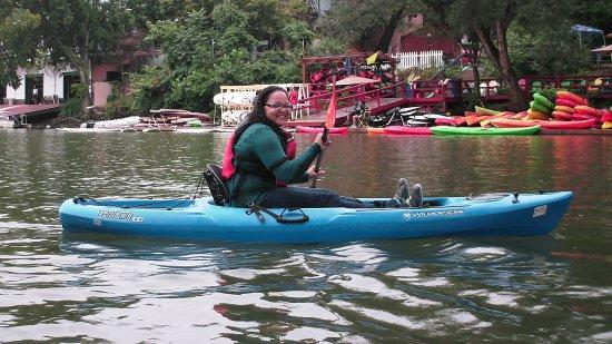 Doreen paddles her kayak