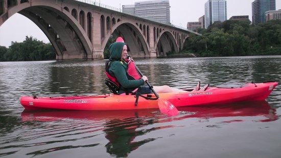 Melissa paddles her kayak
