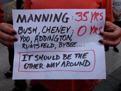 """Manning, 35 years.  Bush, Cheney, Yoo, Addington, Rumsfeld, Bybee: 0 years.  It should be the other way around."""
