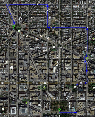 Map of the march route.  Note that rather than take the typical march route up Connecticut Avenue through an empty business district, we went through the neighborhoods!