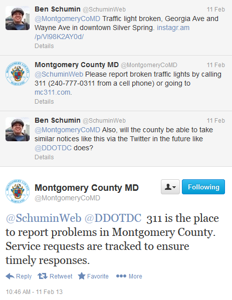 Twitter discussion with MoCo over traffic light issue