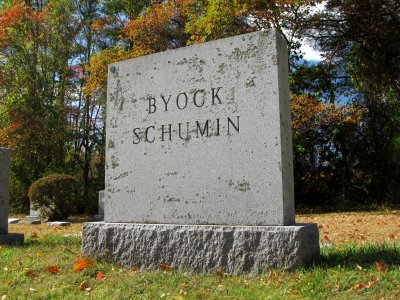 The main memorial, inscribed with the names Byock and Schumin.  Byock was Uncle Seymour's last name, Aunt Ruth's married name, and Grandma's maiden name.  Schumin was Pop's last name, and Grandma's married name.