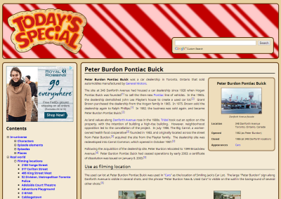 Page for Peter Burdon Pontiac Buick, known on Today's Special as Smiling Jack's, which is representative of an article about a filming location.