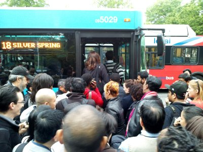 The 18 bus got rushed by a whole crowd of people.  This photo was taken moments later.